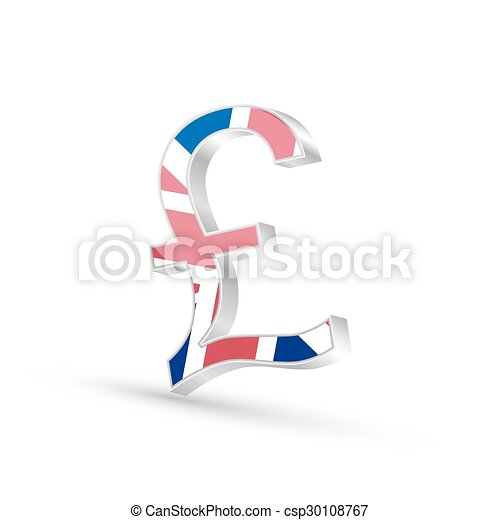 Pound Currency Gold Symbol Icon With Flag Of United Kingdom 3d