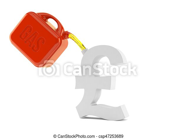 Pound Currency Symbol With Gasoline Can Isolated On White Background
