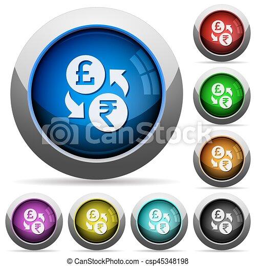Pound Rupee money exchange round glossy buttons - csp45348198
