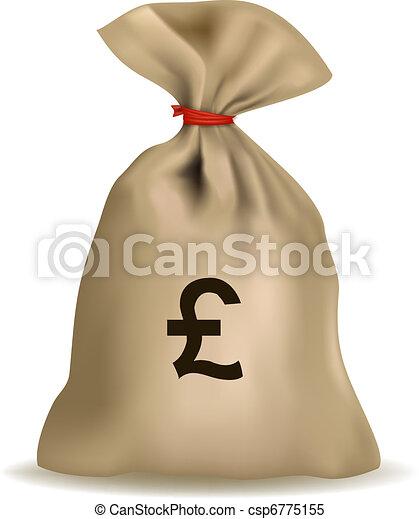 pound., sac, argent, vector. - csp6775155