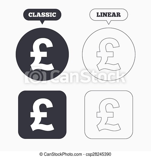 Pound Sign Icon Gbp Currency Symbol Money Label Classic Eps