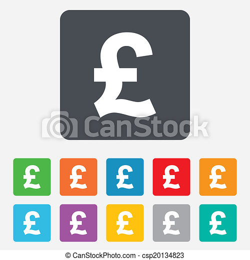 Pound Sign Icon Gbp Currency Symbol Money Label Rounded Squares