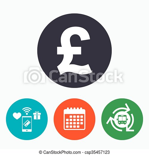 Pound Sign Icon Gbp Currency Symbol Money Label Mobile Vector