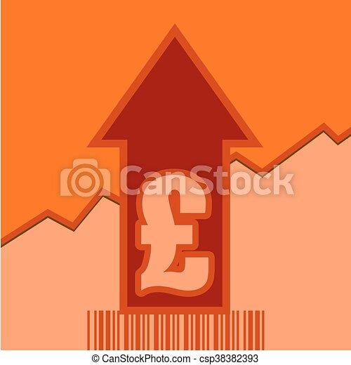 Pound sign on grow up arrow and bar code - csp38382393