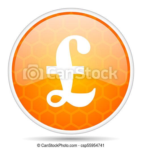 Pound web icon. Round orange glossy internet button for webdesign. - csp55954741