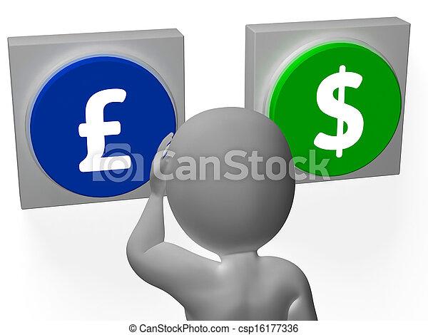 Pounds Dollar Signs Show Pound Dollar Symbols - csp16177336