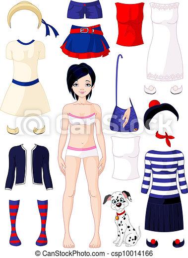 poupée papier, habillement - csp10014166