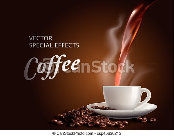 Pour hot coffee into coffee cup, brown background, 3d ...