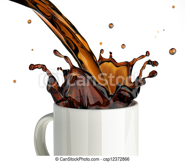 Pouring coffee splashing into a glass mug. on white ... Pouring Wine Into A Glass Clip Art