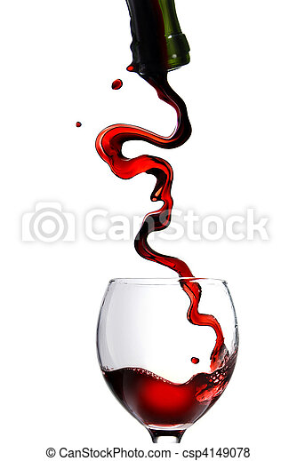 Pouring red wine in glass goblet isolated on white - csp4149078
