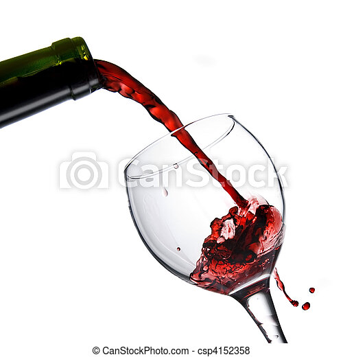 Pouring red wine in glass goblet isolated on white - csp4152358