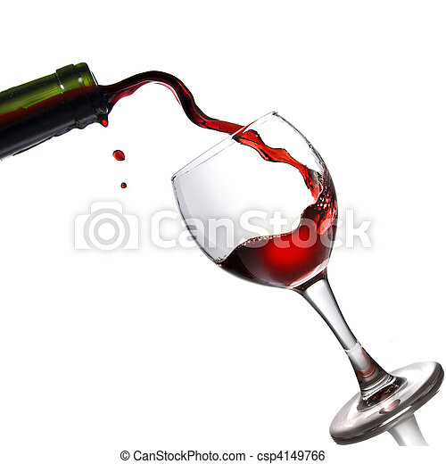 Pouring red wine in glass goblet isolated on white - csp4149766