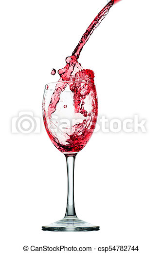 Pouring red wine in glass goblet isolated on white - csp54782744