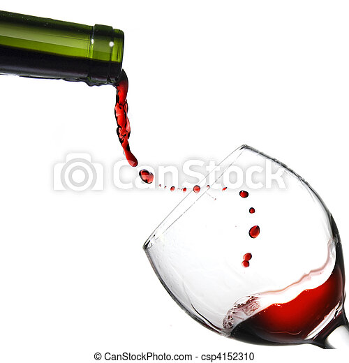 Pouring red wine in glass goblet isolated on white - csp4152310