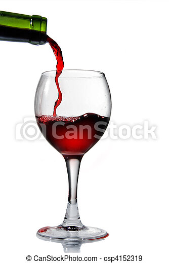 Pouring red wine in goblet isolated on white - csp4152319