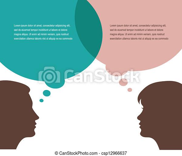 pourparlers, femme, homme - csp12966637