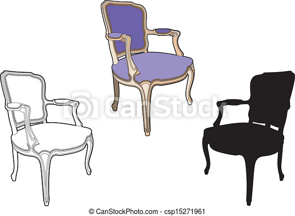 pourpre, chaise, style - csp15271961