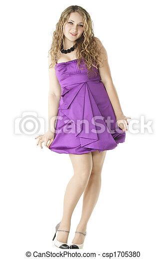 pourpre, girl, robe - csp1705380