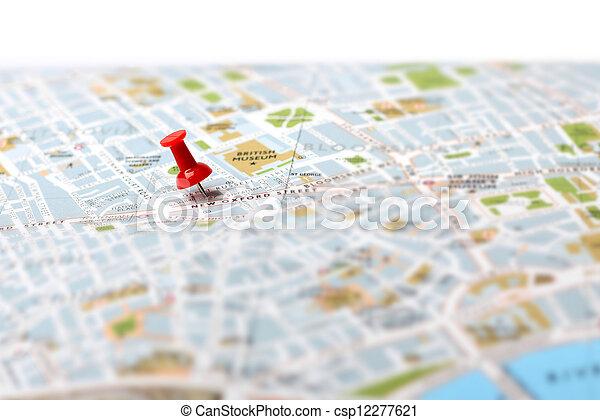 poussée, carte, destination voyage, épingle - csp12277621