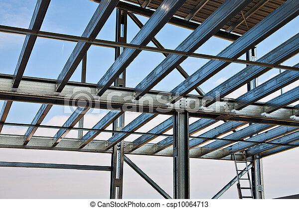 poutres, mezzanine. acier, lumière, structure, zinc, plancher.
