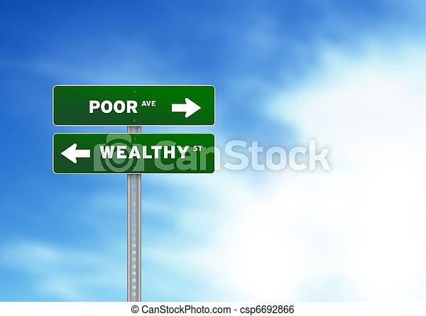 povero, ricco, segno strada - csp6692866