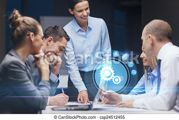 povolání, boss, mluvící, samičí, mužstvo, usmívaní - csp24512455
