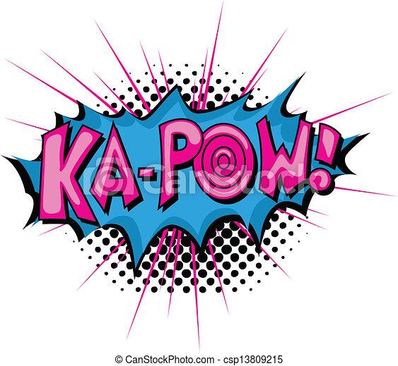 pow, ka, -, uitdrukking, komisch - csp13809215