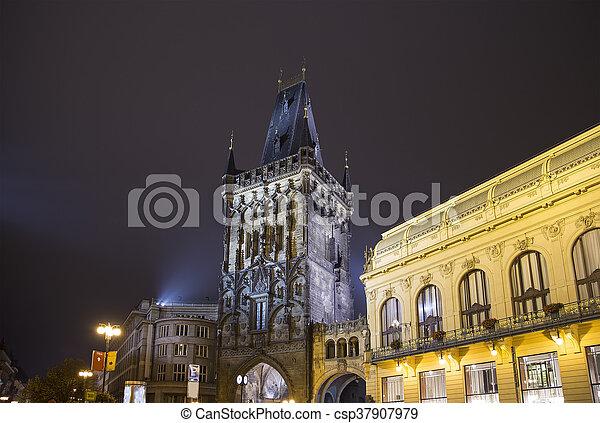Powder Tower Gate At Evening In Prague Czech Republic It