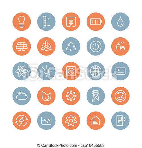 Power and energy flat icons set - csp18455583