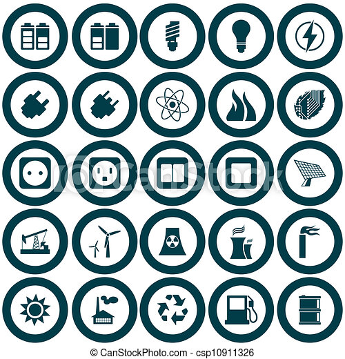 Power and energy icon set - csp10911326
