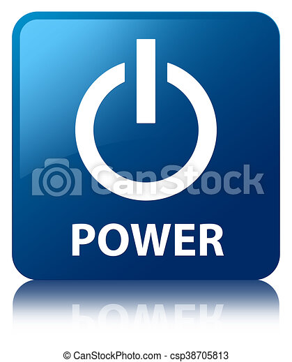 Power blue square button - csp38705813