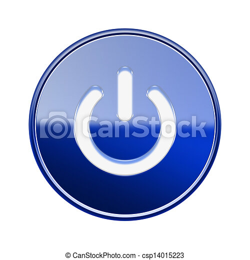 Power button icon glossy blue, isolated on white background - csp14015223