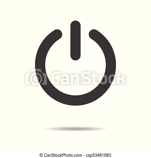 Power button icon - simple flat design isolated on white background, vector - csp53481683