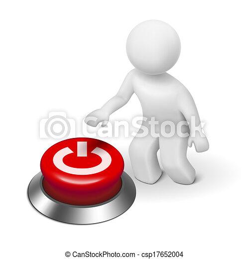 """3D carácter humano, persona y un botón con """"Power"""" - csp17652004"""