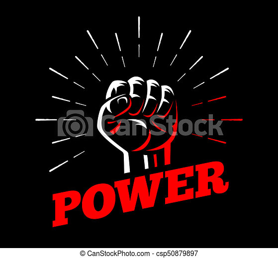 Power clenched raised fist hand gesture - csp50879897