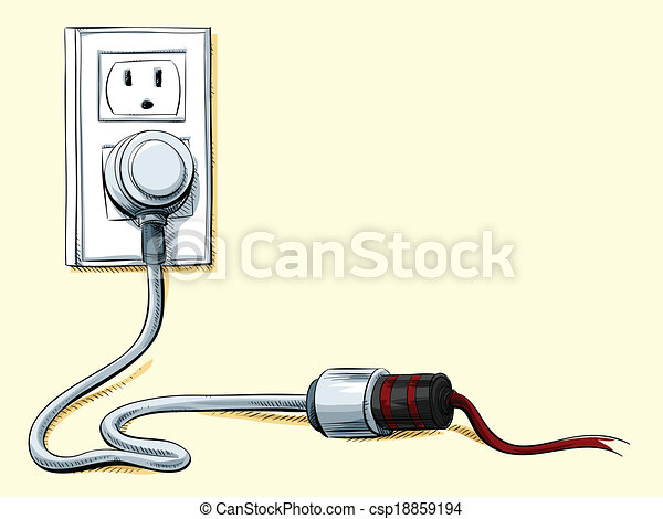 Power cord connection. Cartoon power cord plugged into an extension ...