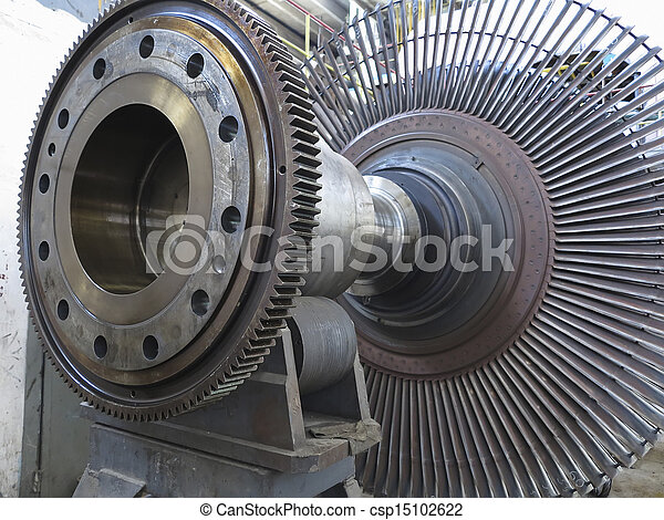 Power generator steam turbine during repair at power plant - csp15102622