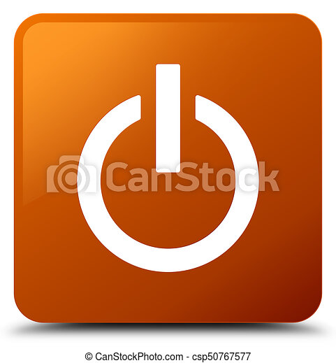 Power icon brown square button - csp50767577