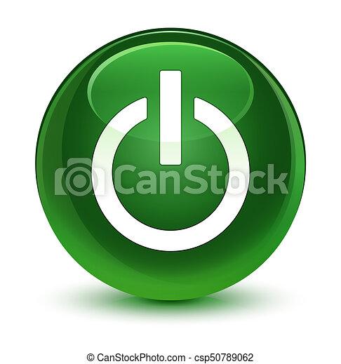 Power icon glassy soft green round button - csp50789062