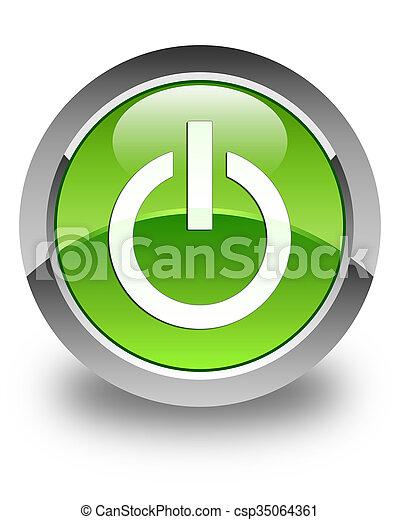 Power icon glossy green round button - csp35064361
