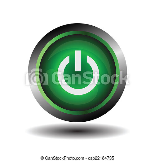 Power icon glossy green vector - csp22184735