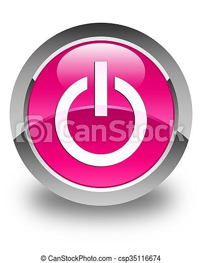 Power icon glossy pink round button - csp35116674
