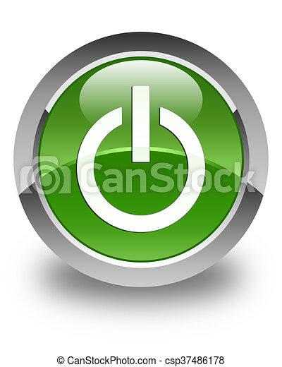 Power icon glossy soft green round button - csp37486178