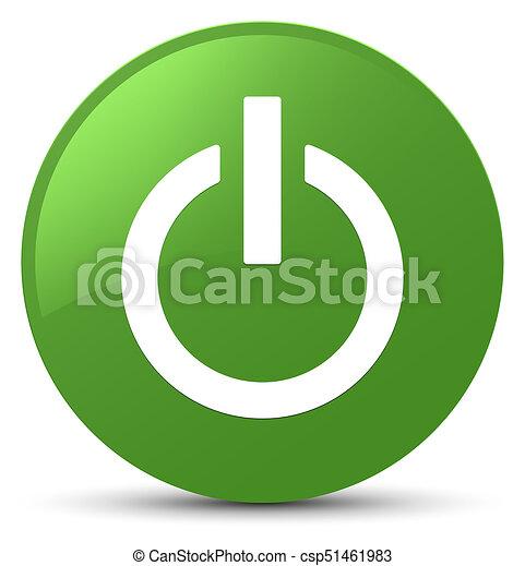 Power icon soft green round button - csp51461983