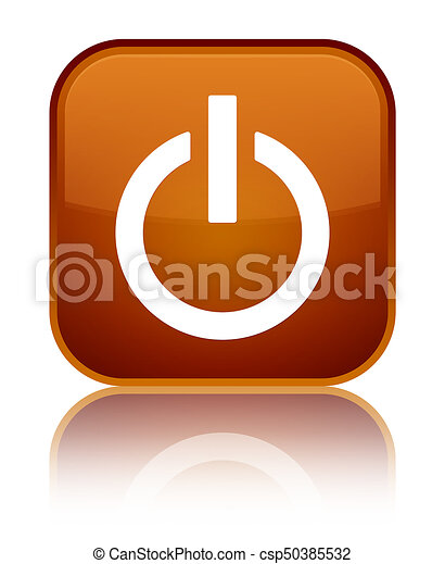 Power icon special brown square button - csp50385532