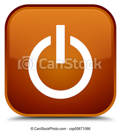 Power icon special brown square button - csp50671066