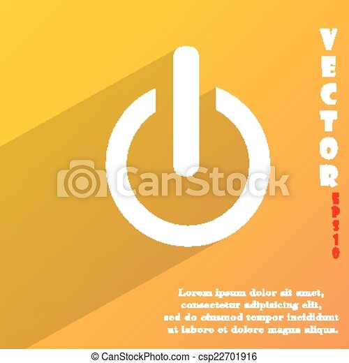Power  icon symbol Flat modern web design with long shadow and space for your text. Vector - csp22701916