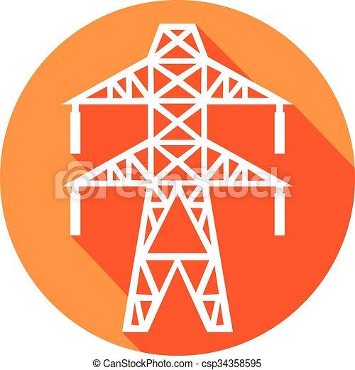 power line flat icon  - csp34358595