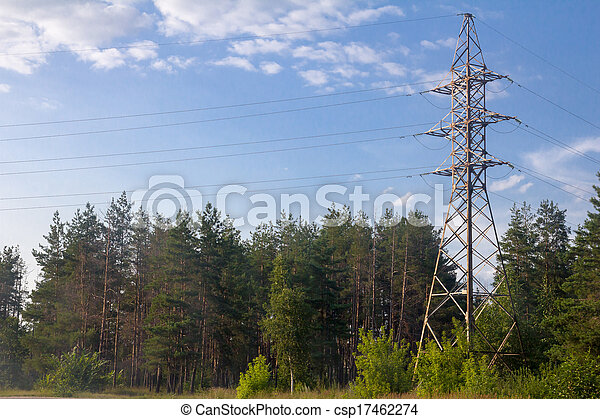 power line in nature - csp17462274