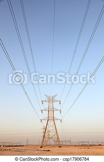 Power line in Qatar, Middle East - csp17906784